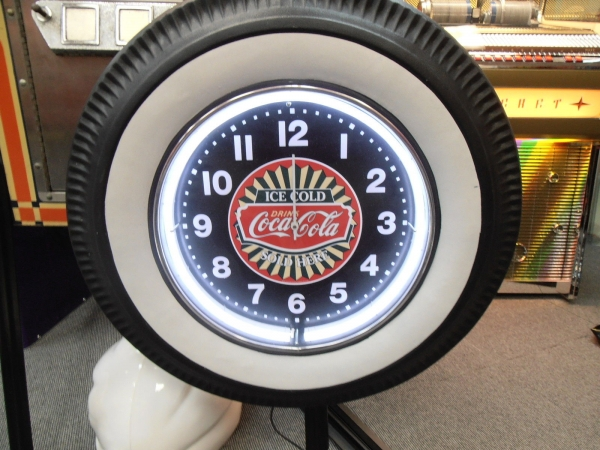 Large Coca Cola Neon White Wall Tyre Clock
