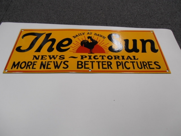 THE SUN NEWSPAPER ENAMEL HEAVY METAL SIGN