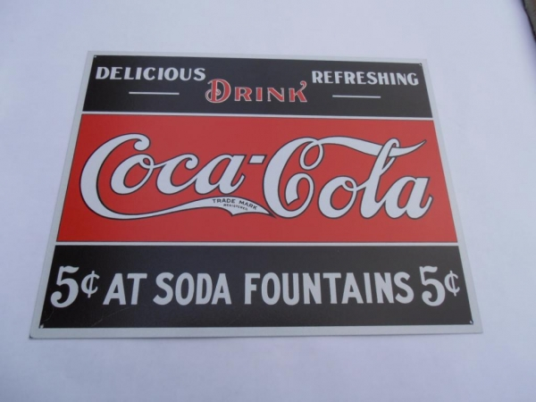 Coke Fountain 5 cents Advertising Sign