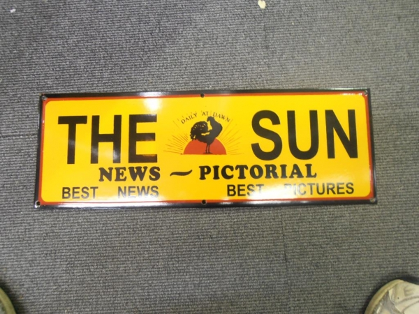 THE SUN LATER ERA NEWSPAPER ENAMEL HEAVY METAL SIGN