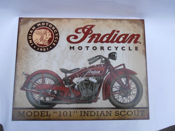 Indian Motorcycle Model 101 Scout Advertising Sign