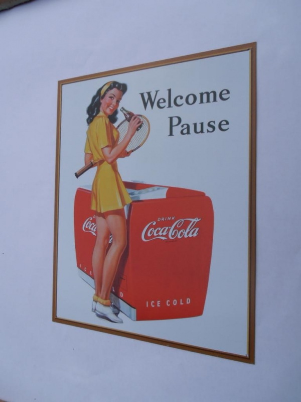 Coke Welcome Pause Advertising Metal Sign