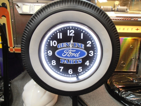 Ford Genuine Parts White Wall Tyre Neon Clock