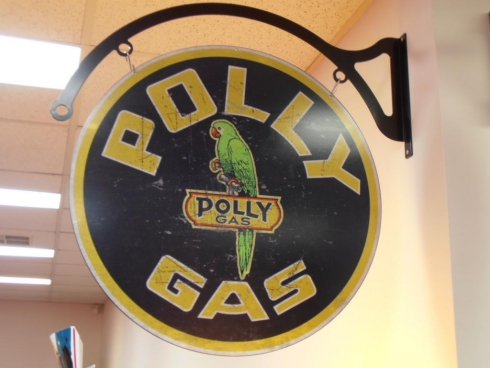 Polly Gas Retro Swinging Sign With Arched Wall Bracket